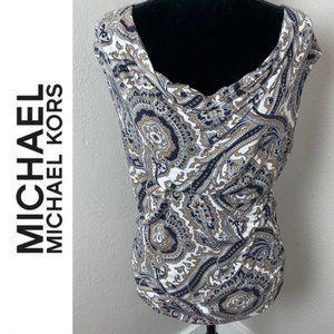 Michael Kors Paisley Print Cowl Neck Top